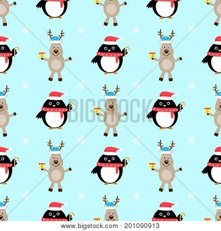 Penguin deer cartoon seamless vector pattern  comic, penguin, fun, party