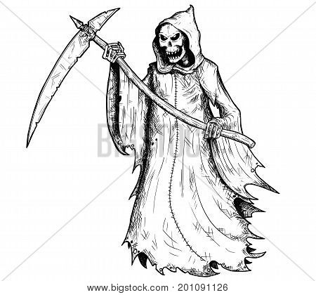 Hand drawing illustration of halloween grim reaper human skeleton with scythe personification of death.