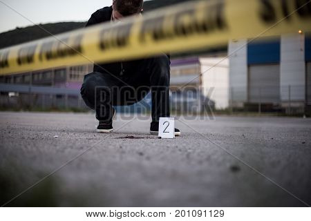 Crime Scene, Murder, Investigation, Bloody Trail On Asphalt, Ongoing Investigation, Camera Expert Ev