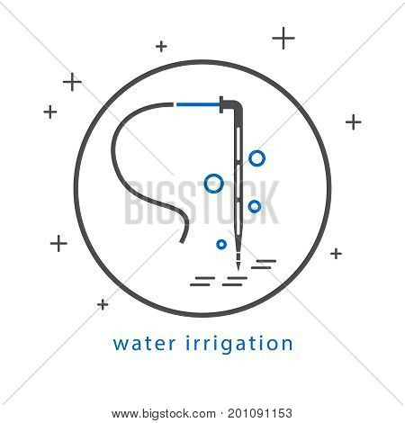 Icon of drip irrigation. Dropper for irrigation system. Gray and blue laconic design.