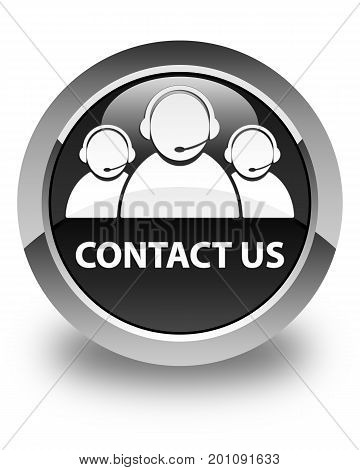 Contact Us (customer Care Team Icon) Glossy Black Round Button