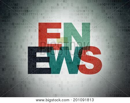 News concept: Painted multicolor text E-news on Digital Data Paper background
