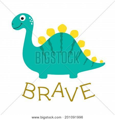 Cute cartoon dino. Brave. Vector illustration on white