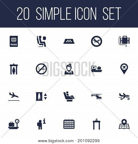 Collection Of Vip, No Drone, Passport And Other Elements.  Set Of 20 Plane Icons Set.