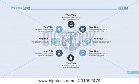 Eight pointers and Earth map process chart. Business data. Graph, diagram, design. Creative concept for infographic, presentation. Can be used for topics like management, planning, training.