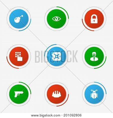 Collection Of Virus, Dynamite, Shot And Other Elements.  Set Of 9 Security Icons Set.