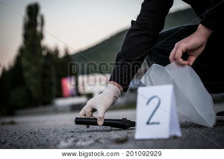The Crime Scene, Murder, Investigation, Police Find Rejected The Gun Used By The Murderer, Taken As