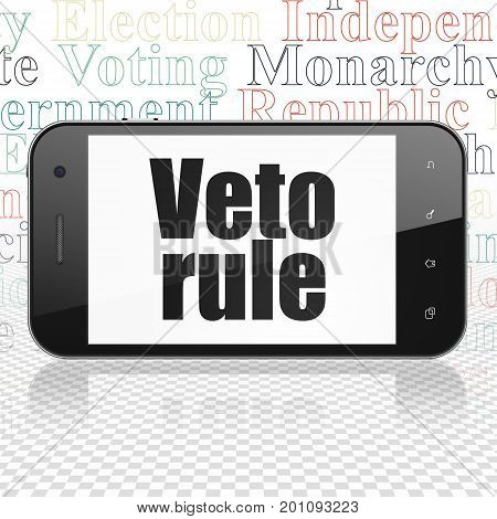 Politics concept: Smartphone with  black text Veto Rule on display,  Tag Cloud background, 3D rendering
