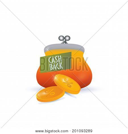Casback symbol isolated. Purse and coins as cash back symbol.