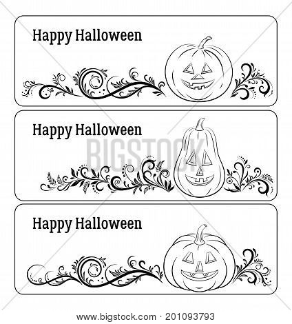 Holiday Halloween Labels Set, Cartoons Pumpkins Jack O Lantern and Floral Pattern, Black Contours Isolated on White Background. Vector
