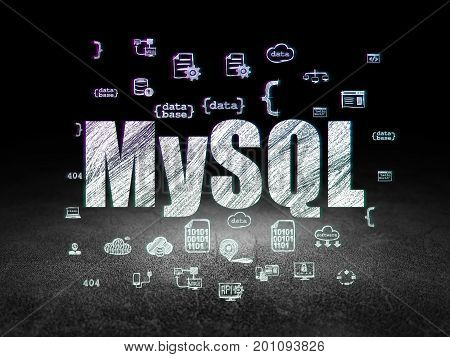 Database concept: Glowing text MySQL,  Hand Drawn Programming Icons in grunge dark room with Dirty Floor, black background