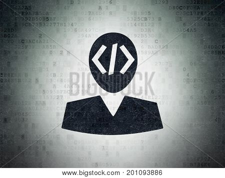 Programming concept: Painted black Programmer icon on Digital Data Paper background