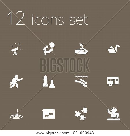 Collection Of Checkmate, Playing, Fish And Other Elements.  Set Of 12 Lifestyle Icons Set.