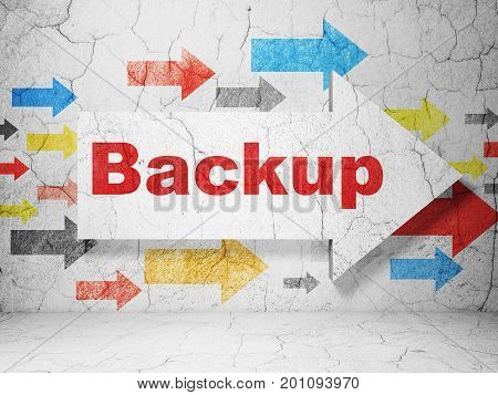 Software concept:  arrow with Backup on grunge textured concrete wall background, 3D rendering