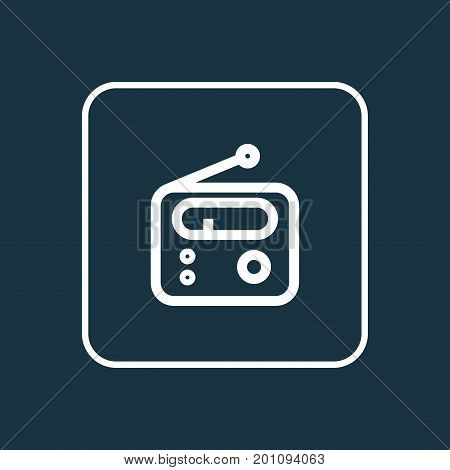 Premium Quality Isolated Tuner Element In Trendy Style.  Radio Outline Symbol.