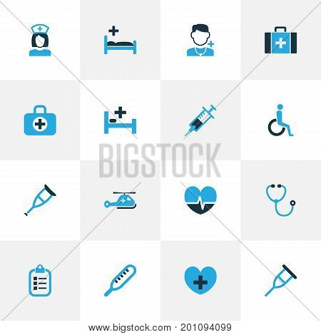 Antibiotic Colorful Icons Set. Collection Of Listener, Medic, Disabled And Other Elements