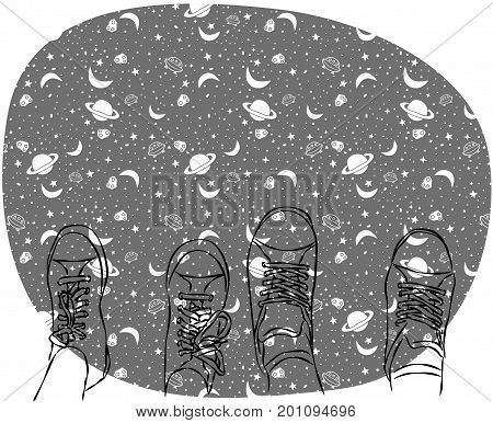 Two pairs of legs in sneakers on space background. Couple of lovers or friends, vector illustration. Greeting card, invitation, save the date