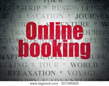 Tourism concept: Painted red text Online Booking on Digital Data Paper background with   Tag Cloud
