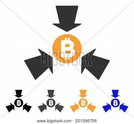 Bitcoin Collect Arrows icon. Vector illustration style is flat iconic symbol with black, gray, orange, blue color variants. Designed for web and software interfaces.