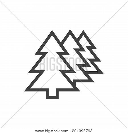 Vector Afforestation Element In Trendy Style.  Isolated Forest Outline Symbol On Clean Background.