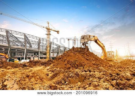 The excavator is working excavation site construction
