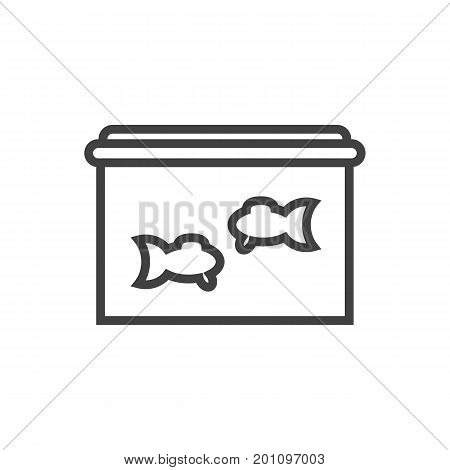 Vector Aquarium Element In Trendy Style.  Isolated Fishbowl Outline Symbol On Clean Background.