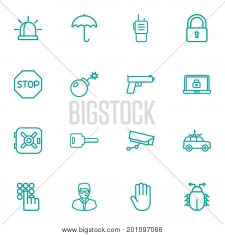 Collection Of Supervision, Safe, Open And Other Elements.  Set Of 16 Safety Outline Icons Set.