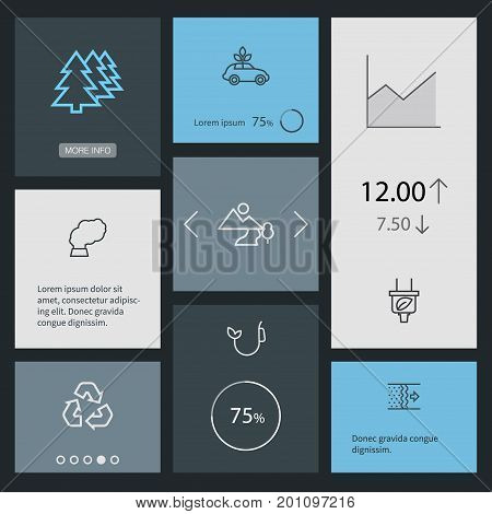 Collection Of Pollution, Afforestation, Ecol And Other Elements.  Set Of 8 Atmosphere Outline Icons Set.