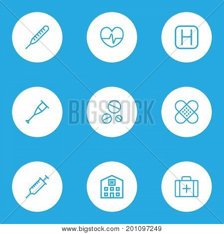 Antibiotic Outline Icons Set. Collection Of Case, Drug, Building And Other Elements