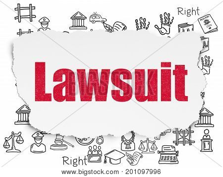 Law concept: Painted red text Lawsuit on Torn Paper background with  Hand Drawn Law Icons