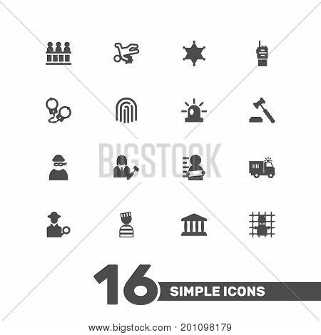 Collection Of Victim, Walkie-Talkie, Thumbprint And Other Elements.  Set Of 16 Criminal Icons Set.