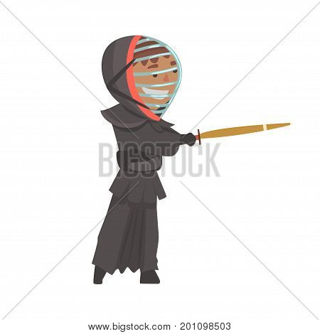 Kendo fighter man with shinai cartoon vector Illustration on a white background