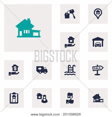 Collection Of Hypothec, Real Estate Agent, Option And Other Elements.  Set Of 12 Real Icons Set.