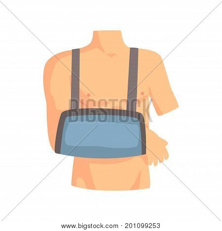 Broken arm with a plaster cast cartoon vector Illustration on a white background