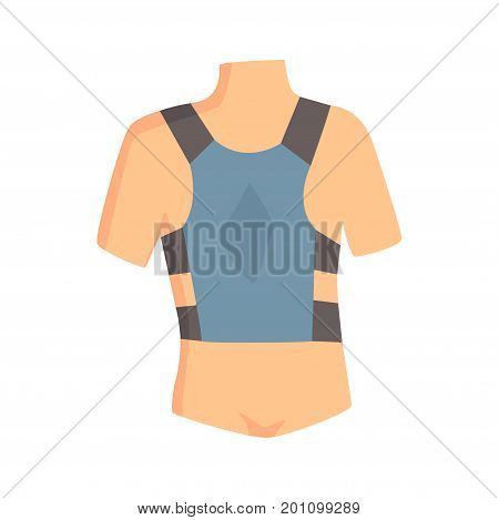 Orthopedic lumbar brace used to treat spinal problems cartoon vector Illustration on a white background