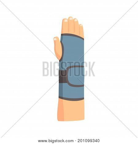 Broken arm bandaged with plaster cartoon vector Illustration on a white background