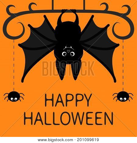 Hanging bat. Two spider dash line web. Happy Halloween card. Cute cartoon character with big wing ears and legs. Black silhouette. Forest animal. Flat design. Orange background. Isolated. Vector