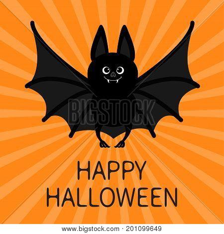 Bat Happy Halloween. Cute cartoon character with big open wings. Black silhouette. Flat design. Orange starburst background. Greeting card. Vector illustration