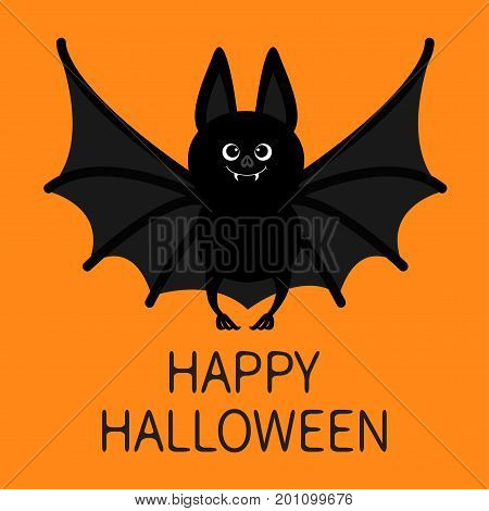 Bat standing. Happy Halloween. Cute cartoon character with big open wing ears and legs. Black silhouette. Forest animal. Flat design. Orange background. Greeting card. Vector illustration