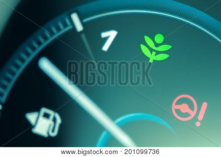 Eco Drive Light Icon On Car Dashboard. Eco-driving Concept