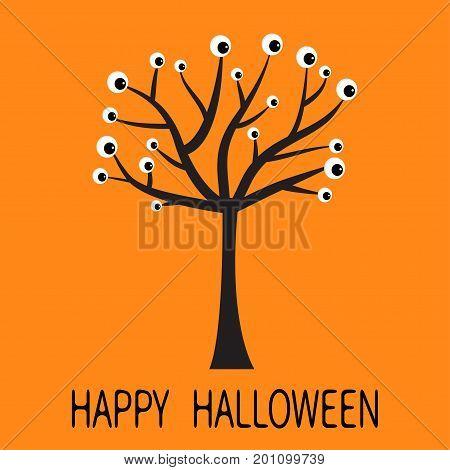 Happy Halloween greeting card. Black tree silhouette with eyes. Plant branch. Cartoon eyeball. Spooky apple of eye set. Baby illustration collection. Flat design Orange background. Vector illustration