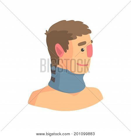 Neck brace used to treat cervical spine problems cartoon vector Illustration on a white background