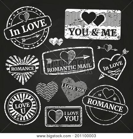 Romantic postage grunge stamp collection on chalkboard. Vector illustration flat