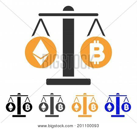 Cryptocurrency Weight icon. Vector illustration style is flat iconic symbol with black, grey, orange, blue color variants. Designed for web and software interfaces.