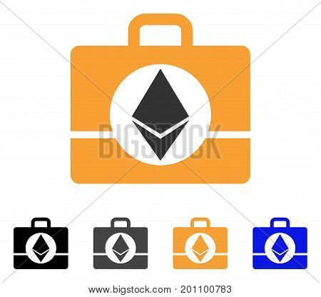 Ethereum Case icon. Vector illustration style is flat iconic symbol with black, grey, orange, blue color variants. Designed for web and software interfaces.
