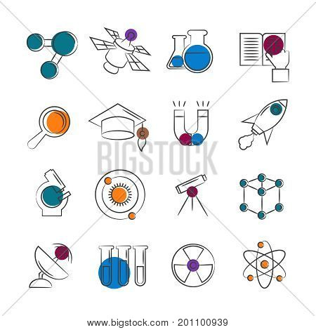 Science line icons collection with colorful details. Science flat elements. Vector illustration