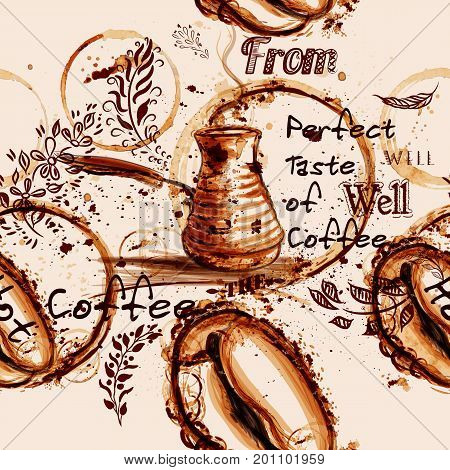 Coffee vector pattern illustration with coffee grain painted by print from mug spots warm sepia color ideal for cafe labels