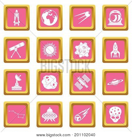 Space icons set in pink color isolated vector illustration for web and any design