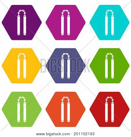 Nunchaku icon set many color hexahedron isolated on white vector illustration