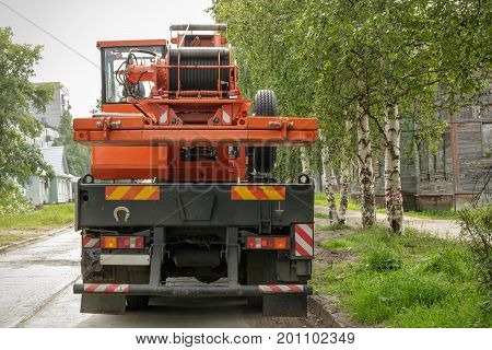 Auto Crane Parked On The Roadside